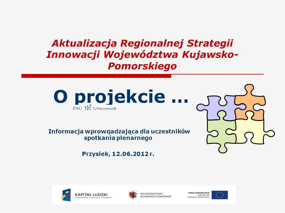 Aktualizacja Regionalnej Strategii Innowacji Województwa Kujawsko- Pomorskiego O projekcie … Informacja wprowqadzająca dla uczestników spotkania plena