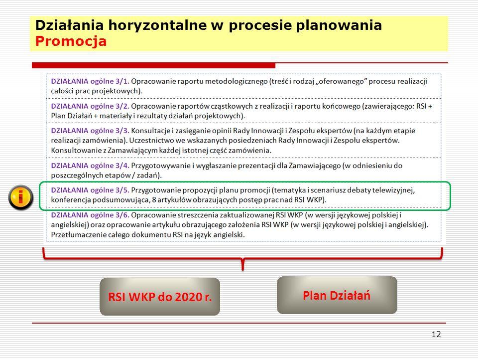 Działania horyzontalne w procesie planowania Promocja 12 Plan Działań RSI WKP do 2020 r.