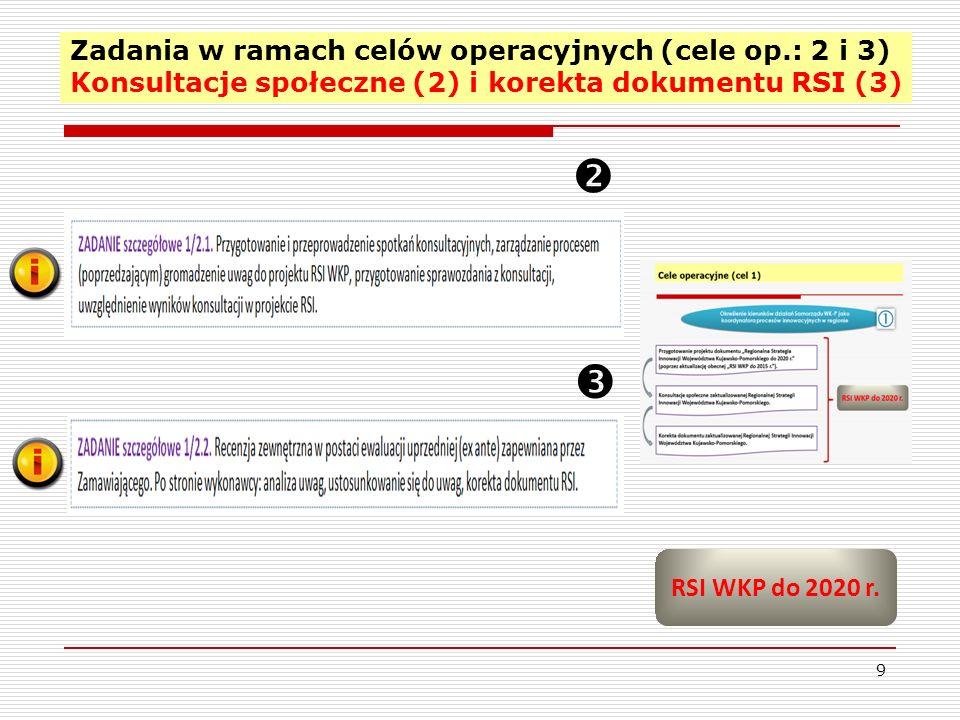 Zadania w ramach celów operacyjnych (cele op.: 2 i 3) Konsultacje społeczne (2) i korekta dokumentu RSI (3) 9 RSI WKP do 2020 r.