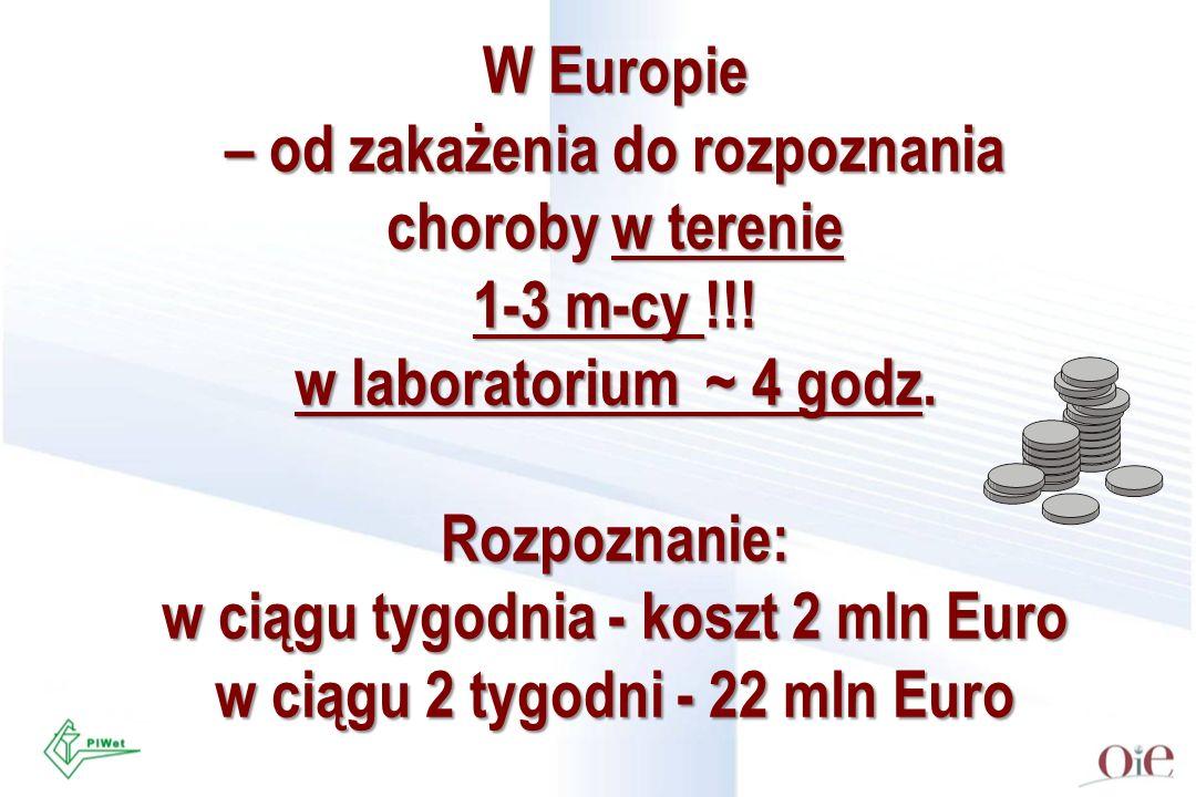 W Europie – od zakażenia do rozpoznania choroby w terenie 1-3 m-cy !!! w laboratorium ~ 4 godz. Rozpoznanie: w ciągu tygodnia - koszt 2 mln Euro w cią