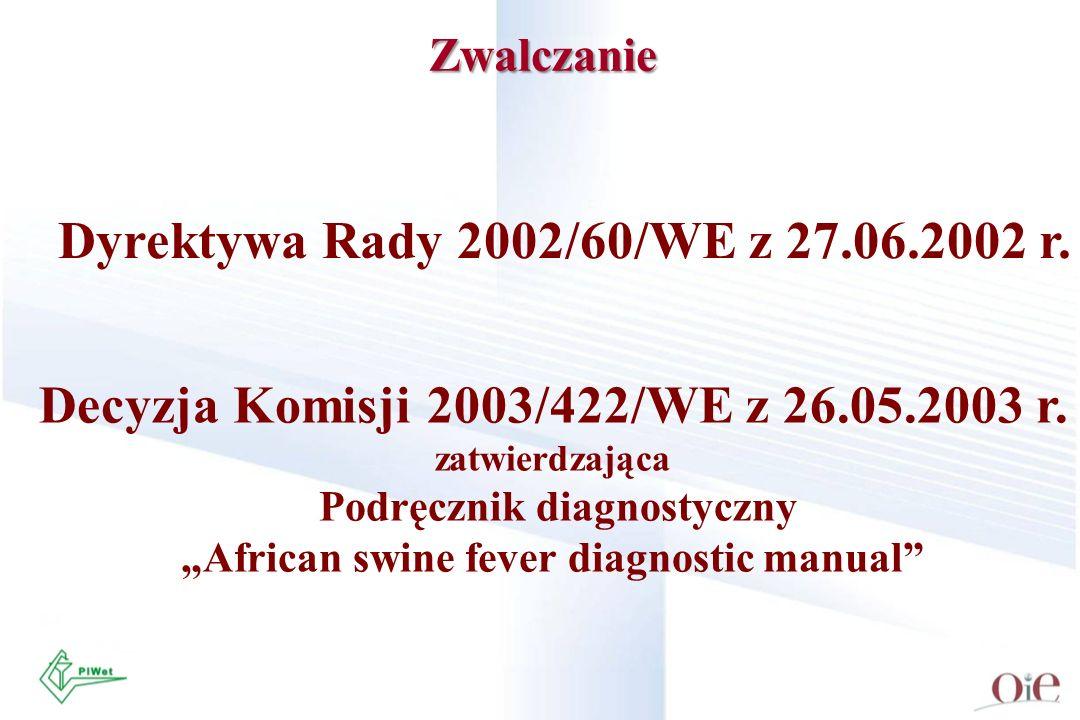 Zwalczanie Decyzja Komisji 2003/422/WE z 26.05.2003 r. zatwierdzająca Podręcznik diagnostyczny African swine fever diagnostic manual Dyrektywa Rady 20