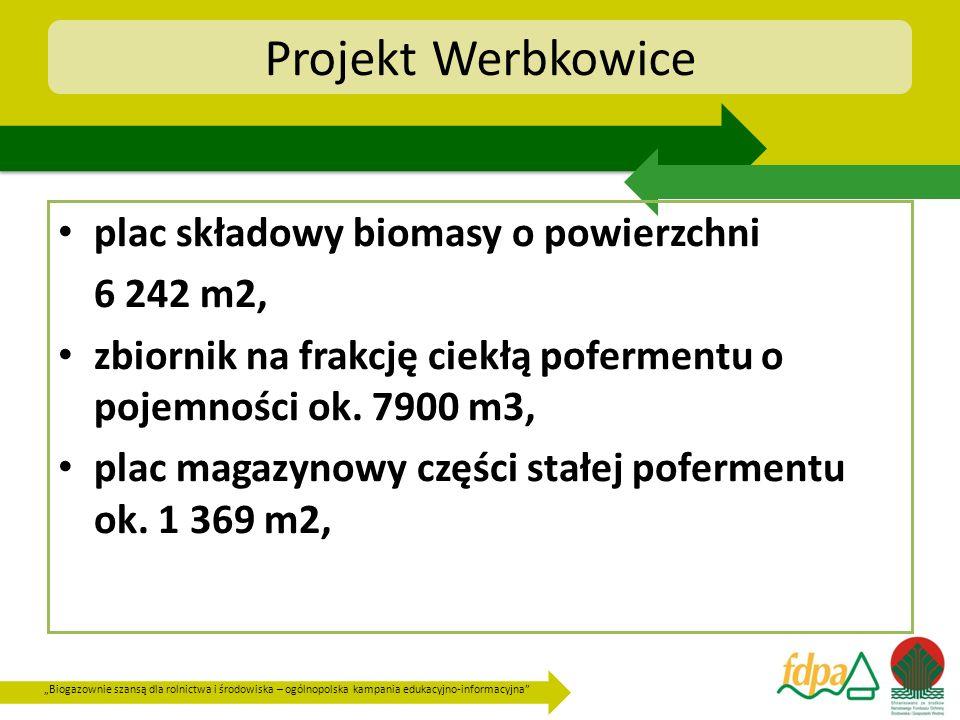Biogazownie szansą dla rolnictwa i środowiska – ogólnopolska kampania edukacyjno-informacyjna Projekt Werbkowice plac składowy biomasy o powierzchni 6