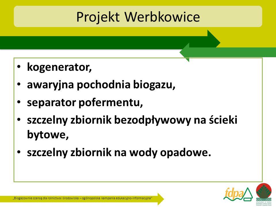 Biogazownie szansą dla rolnictwa i środowiska – ogólnopolska kampania edukacyjno-informacyjna Projekt Werbkowice kogenerator, awaryjna pochodnia bioga