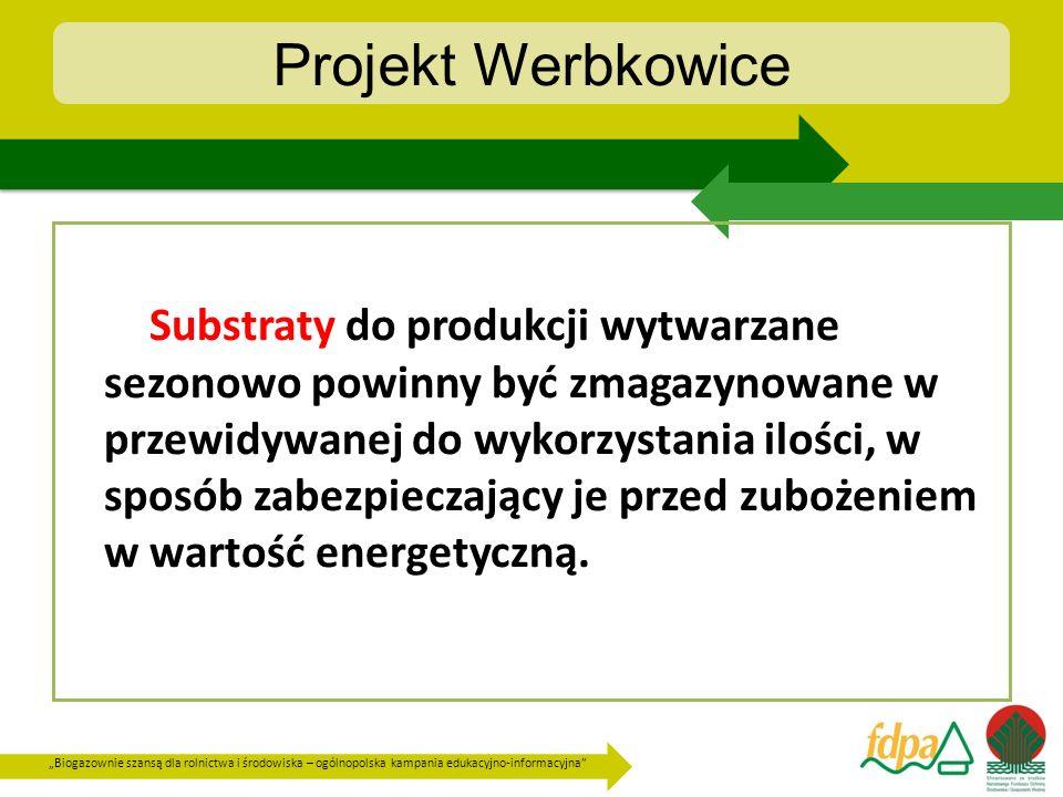 Biogazownie szansą dla rolnictwa i środowiska – ogólnopolska kampania edukacyjno-informacyjna Projekt Werbkowice Substraty do produkcji wytwarzane sez
