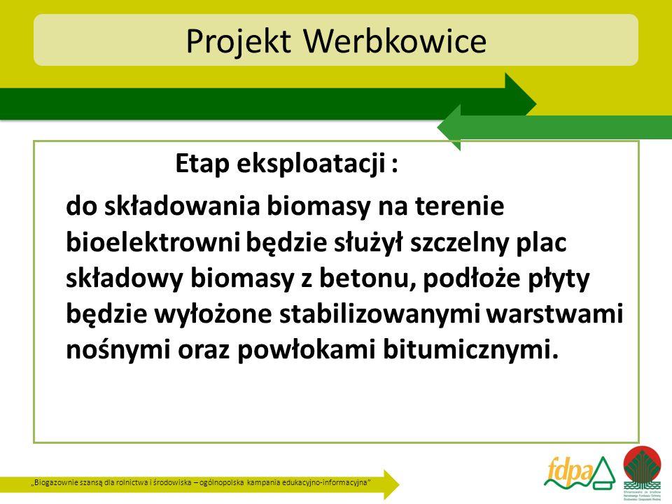 Biogazownie szansą dla rolnictwa i środowiska – ogólnopolska kampania edukacyjno-informacyjna Projekt Werbkowice Etap eksploatacji : do składowania bi