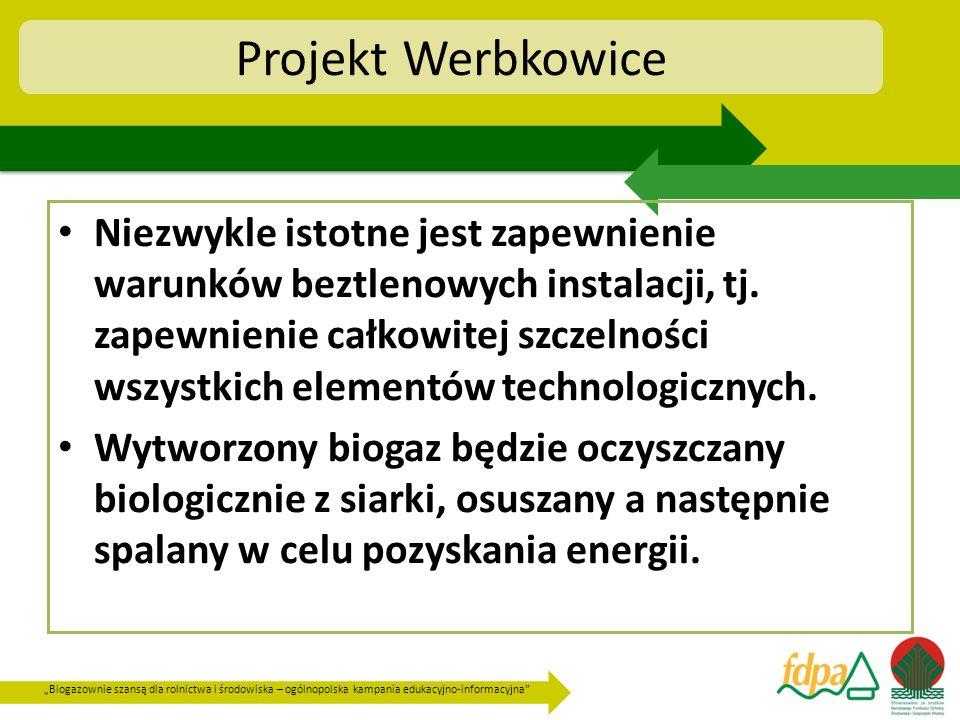 Biogazownie szansą dla rolnictwa i środowiska – ogólnopolska kampania edukacyjno-informacyjna Projekt Werbkowice Niezwykle istotne jest zapewnienie wa