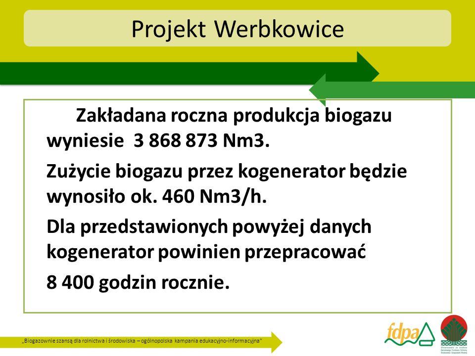 Biogazownie szansą dla rolnictwa i środowiska – ogólnopolska kampania edukacyjno-informacyjna Projekt Werbkowice Zakładana roczna produkcja biogazu wy