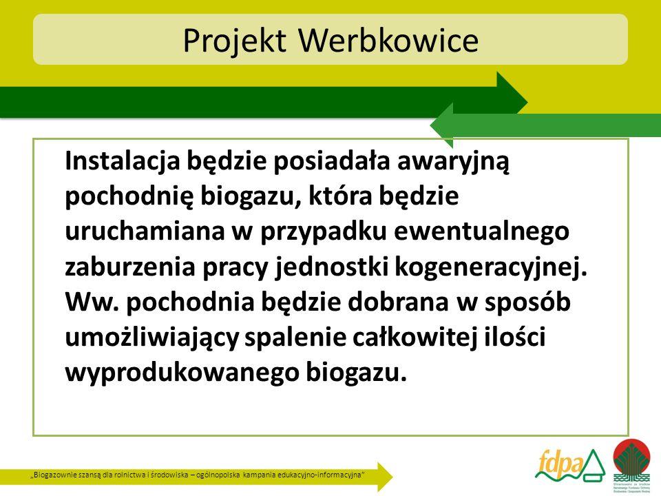 Biogazownie szansą dla rolnictwa i środowiska – ogólnopolska kampania edukacyjno-informacyjna Projekt Werbkowice Instalacja będzie posiadała awaryjną