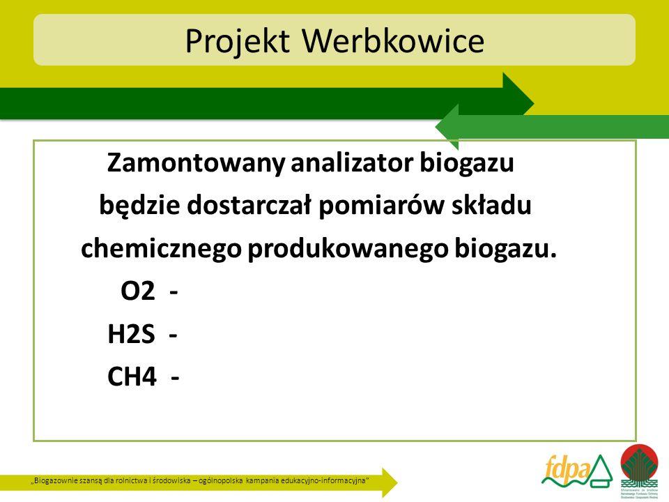 Biogazownie szansą dla rolnictwa i środowiska – ogólnopolska kampania edukacyjno-informacyjna Projekt Werbkowice Zamontowany analizator biogazu będzie