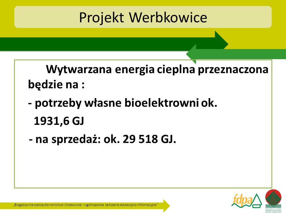 Biogazownie szansą dla rolnictwa i środowiska – ogólnopolska kampania edukacyjno-informacyjna Projekt Werbkowice Wytwarzana energia cieplna przeznaczo