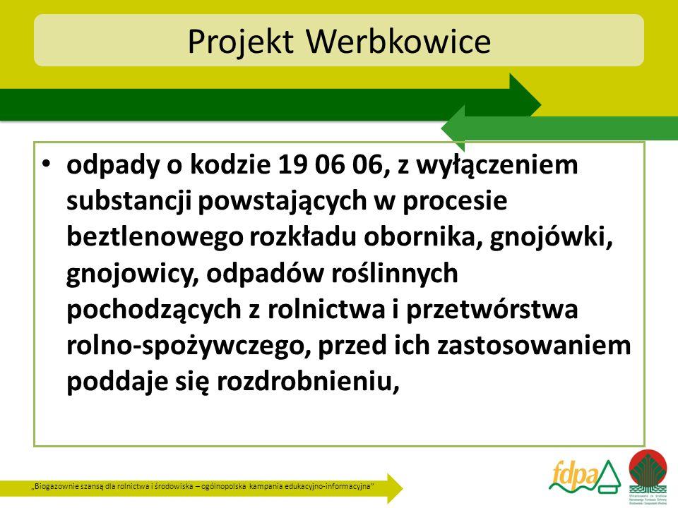 Biogazownie szansą dla rolnictwa i środowiska – ogólnopolska kampania edukacyjno-informacyjna Projekt Werbkowice odpady o kodzie 19 06 06, z wyłączeni