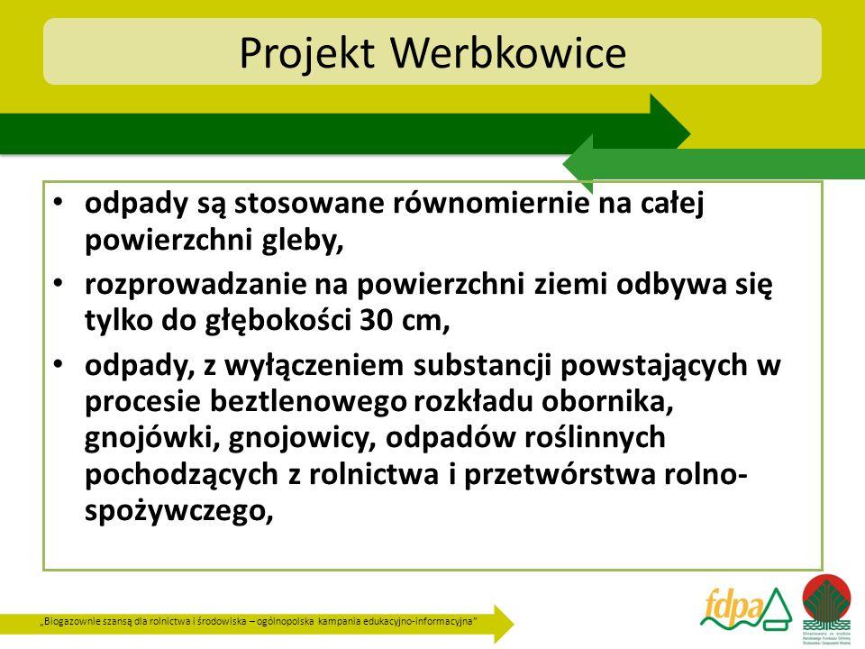 Biogazownie szansą dla rolnictwa i środowiska – ogólnopolska kampania edukacyjno-informacyjna Projekt Werbkowice odpady są stosowane równomiernie na c