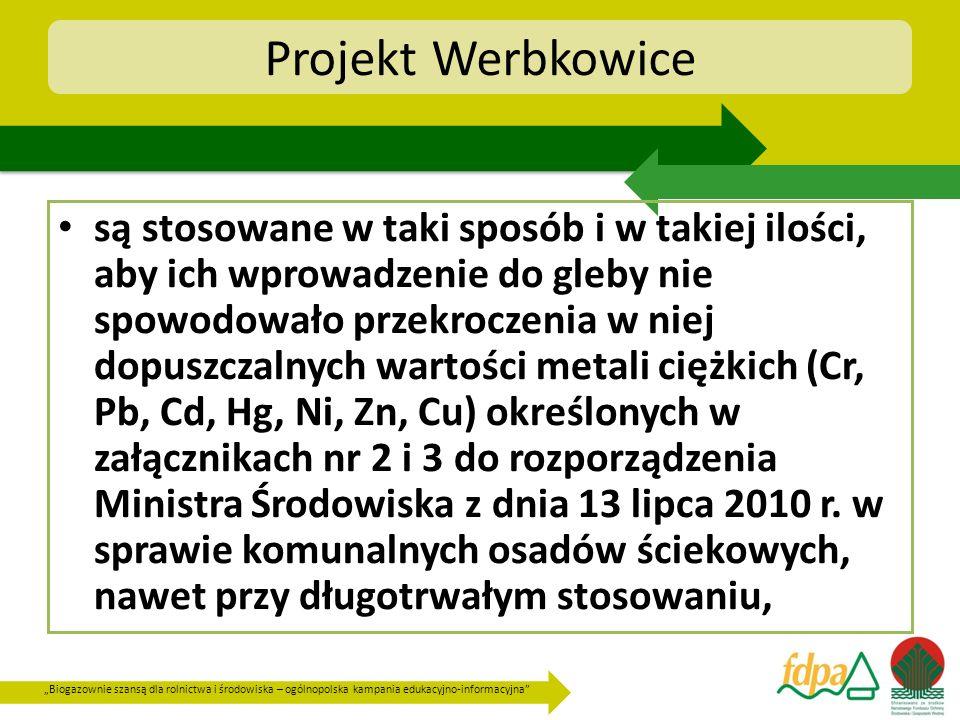 Biogazownie szansą dla rolnictwa i środowiska – ogólnopolska kampania edukacyjno-informacyjna Projekt Werbkowice są stosowane w taki sposób i w takiej