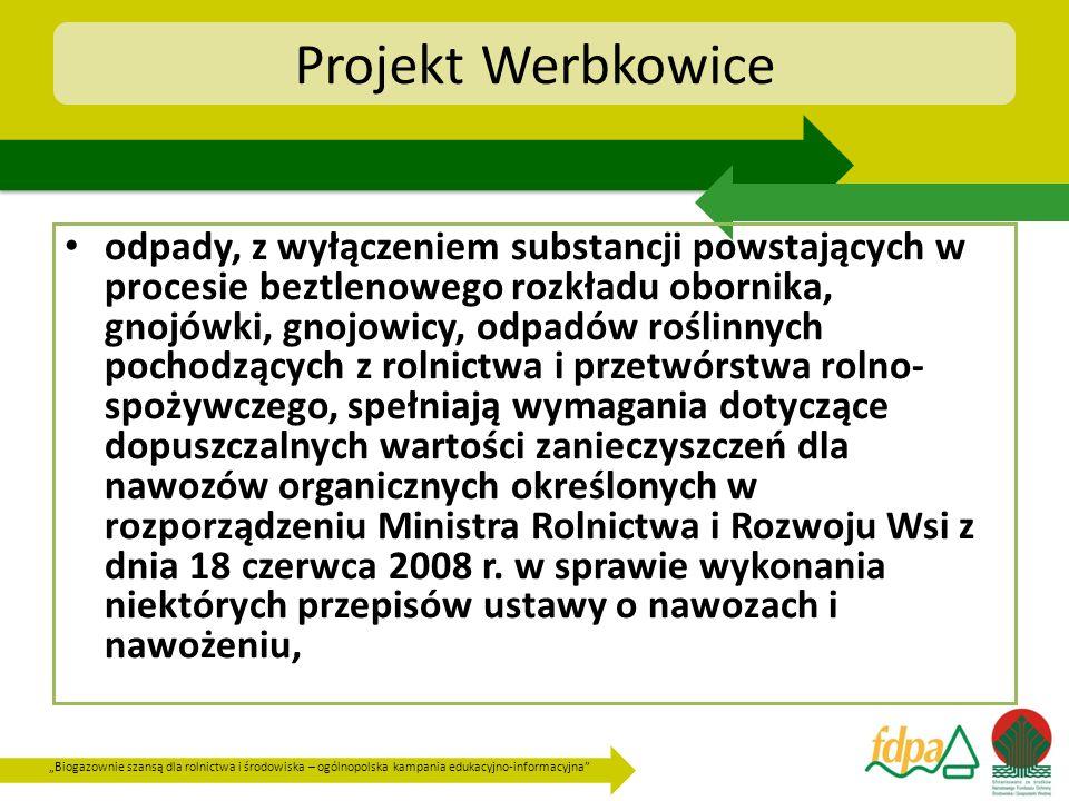 Biogazownie szansą dla rolnictwa i środowiska – ogólnopolska kampania edukacyjno-informacyjna Projekt Werbkowice odpady, z wyłączeniem substancji pows
