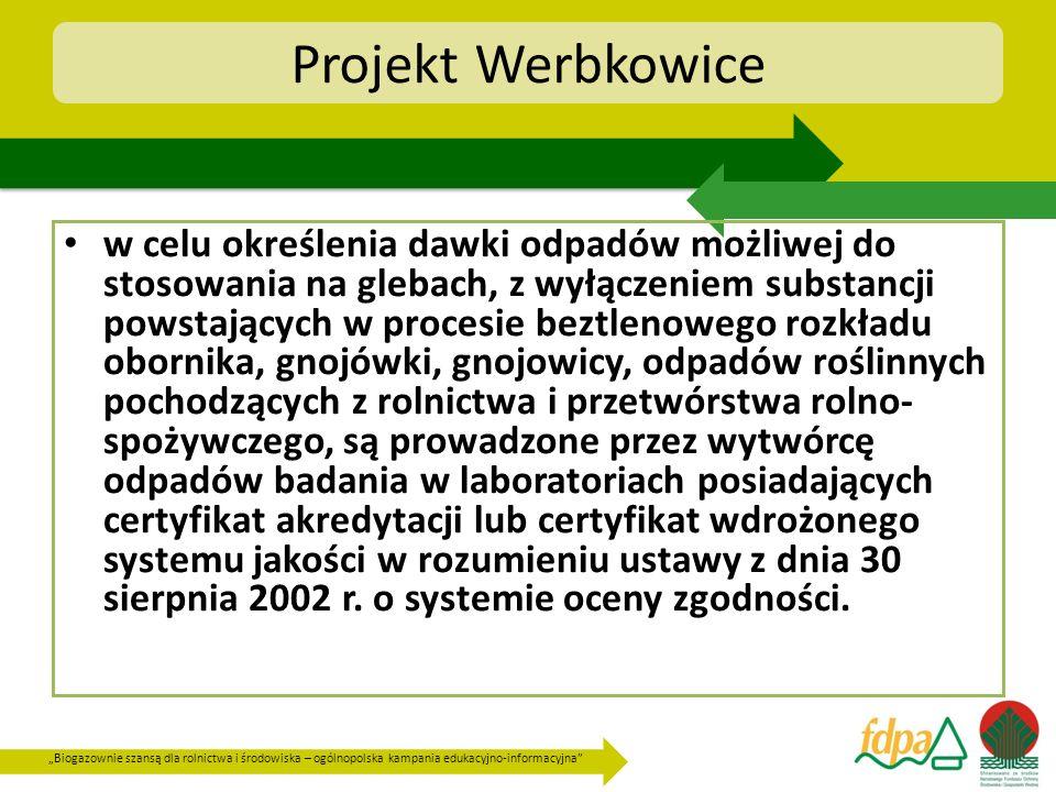 Biogazownie szansą dla rolnictwa i środowiska – ogólnopolska kampania edukacyjno-informacyjna Projekt Werbkowice w celu określenia dawki odpadów możli