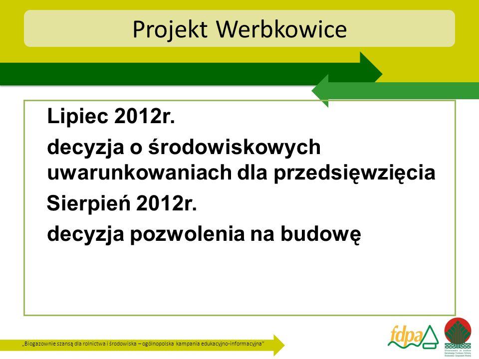 Biogazownie szansą dla rolnictwa i środowiska – ogólnopolska kampania edukacyjno-informacyjna Projekt Werbkowice Lipiec 2012r. decyzja o środowiskowyc