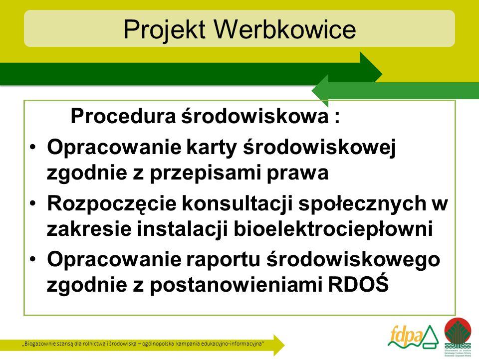 Biogazownie szansą dla rolnictwa i środowiska – ogólnopolska kampania edukacyjno-informacyjna Projekt Werbkowice w celu określenia dawki odpadów możliwej do stosowania na glebach, z wyłączeniem substancji powstających w procesie beztlenowego rozkładu obornika, gnojówki, gnojowicy, odpadów roślinnych pochodzących z rolnictwa i przetwórstwa rolno- spożywczego, są prowadzone przez wytwórcę odpadów badania w laboratoriach posiadających certyfikat akredytacji lub certyfikat wdrożonego systemu jakości w rozumieniu ustawy z dnia 30 sierpnia 2002 r.