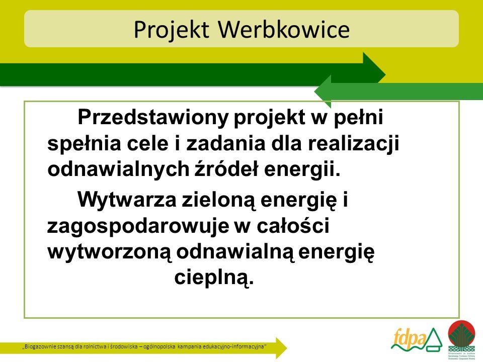 Biogazownie szansą dla rolnictwa i środowiska – ogólnopolska kampania edukacyjno-informacyjna Projekt Werbkowice Przedstawiony projekt w pełni spełnia