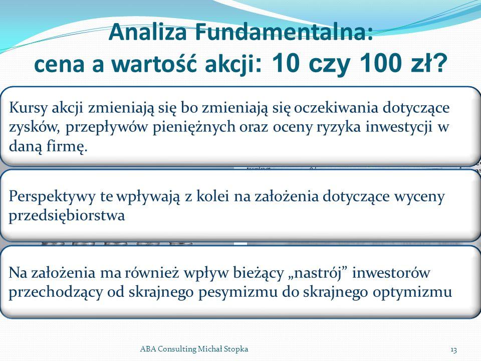 Analiza Fundamentalna: cena a wartość akcji : 10 czy 100 zł? ABA Consulting Michał Stopka13 Kursy akcji zmieniają się bo zmieniają się oczekiwania dot
