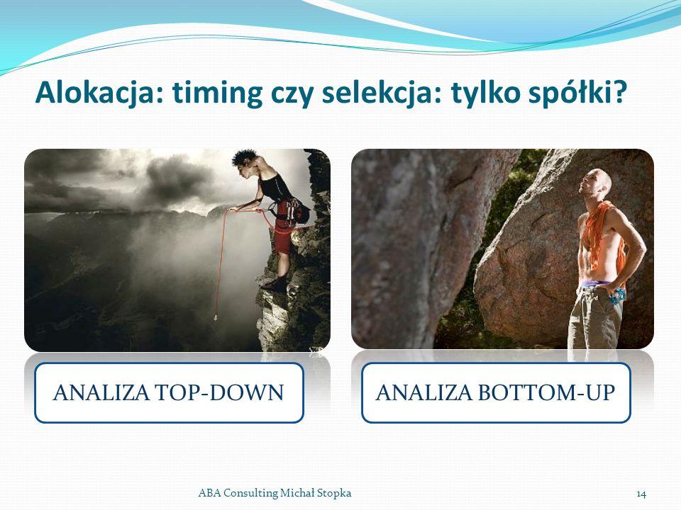 Alokacja: timing czy selekcja: tylko spółki? ABA Consulting Michał Stopka14 ANALIZA TOP-DOWNANALIZA BOTTOM-UP
