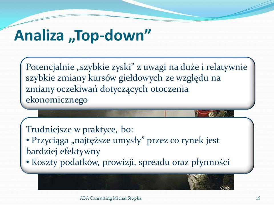 Analiza Top-down ABA Consulting Michał Stopka16 Potencjalnie szybkie zyski z uwagi na duże i relatywnie szybkie zmiany kursów giełdowych ze względu na