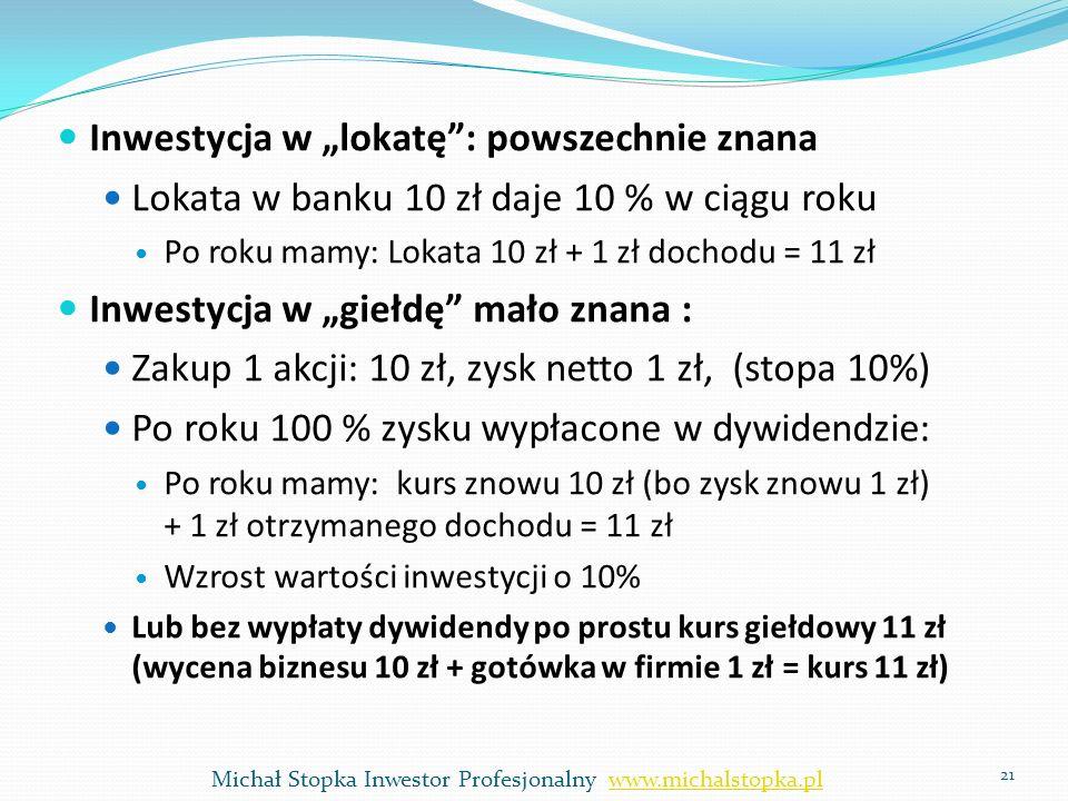 Inwestycja w lokatę: powszechnie znana Lokata w banku 10 zł daje 10 % w ciągu roku Po roku mamy: Lokata 10 zł + 1 zł dochodu = 11 zł Inwestycja w gieł