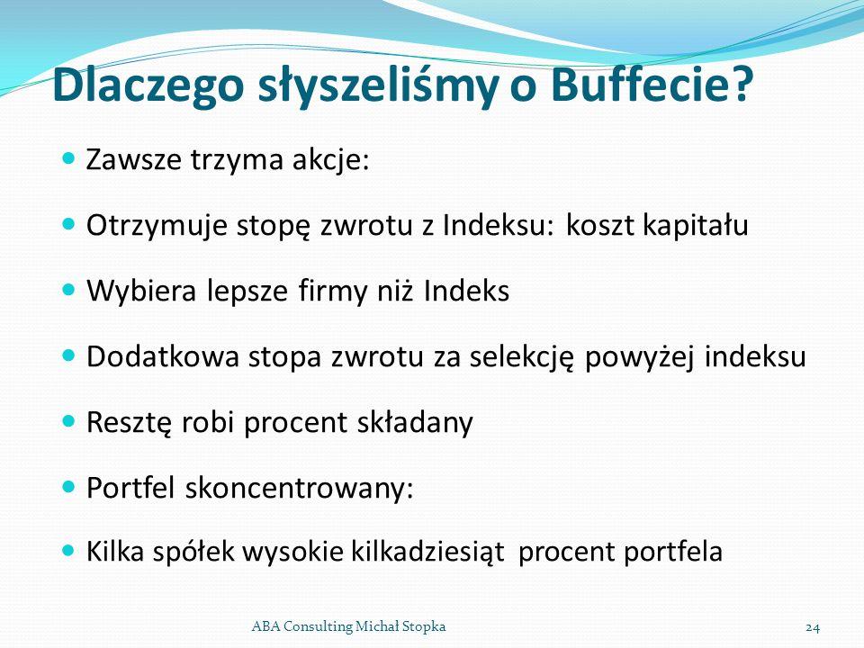 Dlaczego słyszeliśmy o Buffecie? Zawsze trzyma akcje: Otrzymuje stopę zwrotu z Indeksu: koszt kapitału Wybiera lepsze firmy niż Indeks Dodatkowa stopa