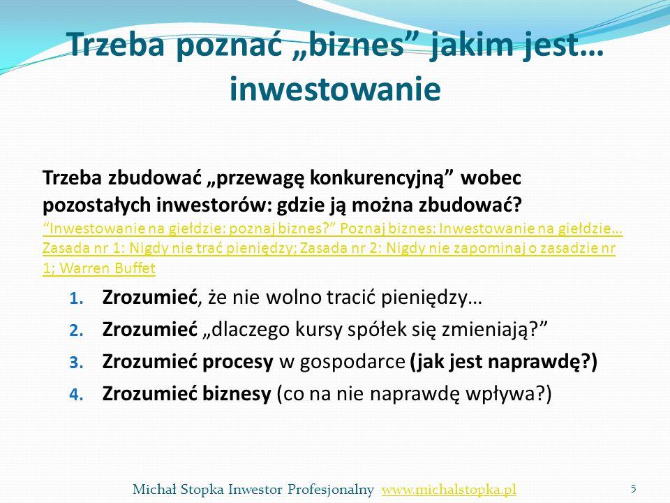 Trzeba poznać biznes jakim jest… inwestowanie Trzeba zbudować przewagę konkurencyjną wobec pozostałych inwestorów: gdzie ją można zbudować? Inwestowan