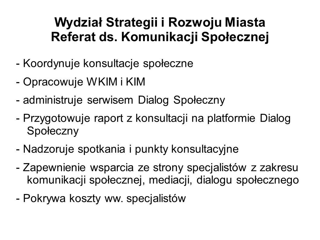 Wydział Strategii i Rozwoju Miasta Referat ds. Komunikacji Społecznej - Koordynuje konsultacje społeczne - Opracowuje WKIM i KIM - administruje serwis