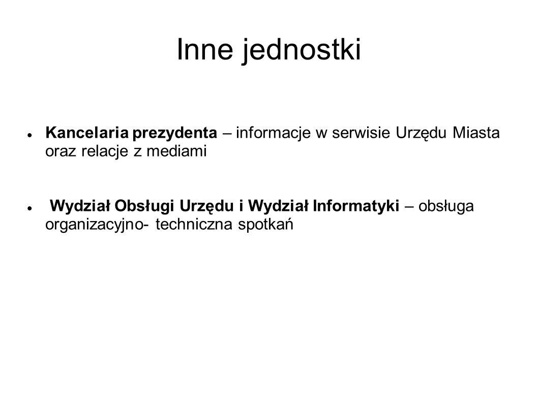Inne jednostki Kancelaria prezydenta – informacje w serwisie Urzędu Miasta oraz relacje z mediami Wydział Obsługi Urzędu i Wydział Informatyki – obsłu