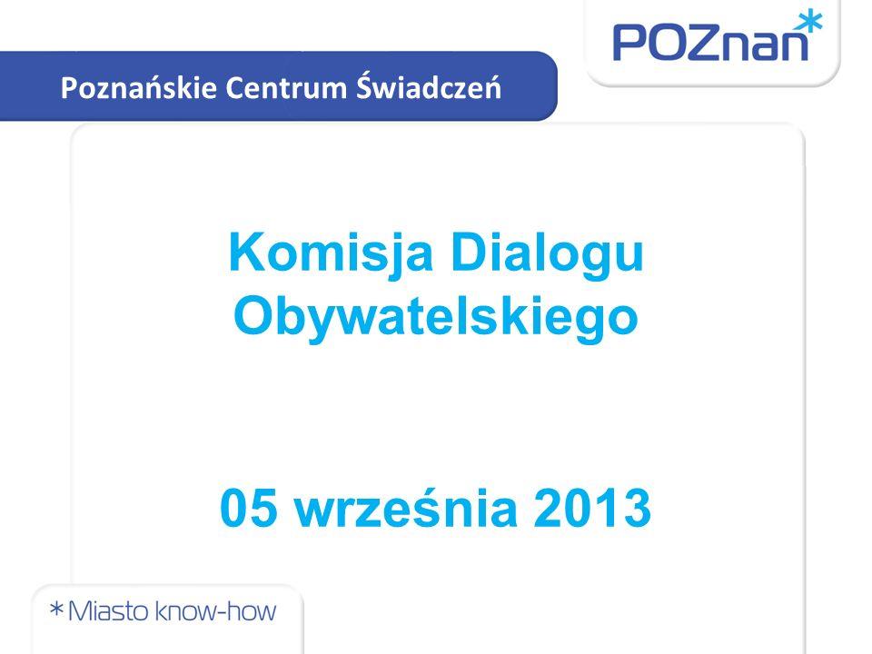 Komisja Dialogu Obywatelskiego 05 września 2013 Poznańskie Centrum Świadczeń