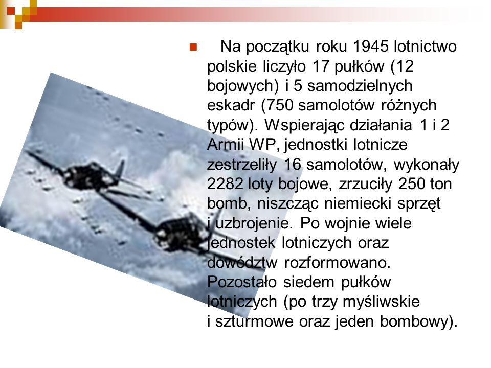 Na początku roku 1945 lotnictwo polskie liczyło 17 pułków (12 bojowych) i 5 samodzielnych eskadr (750 samolotów różnych typów). Wspierając działania 1