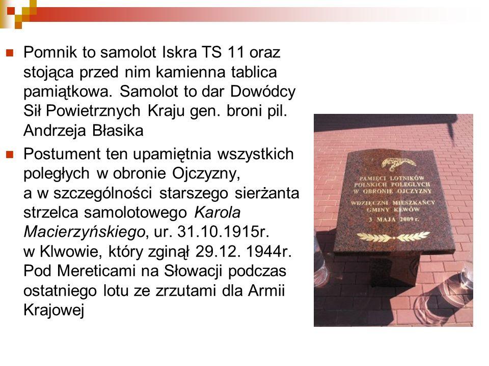 Pomnik to samolot Iskra TS 11 oraz stojąca przed nim kamienna tablica pamiątkowa. Samolot to dar Dowódcy Sił Powietrznych Kraju gen. broni pil. Andrze