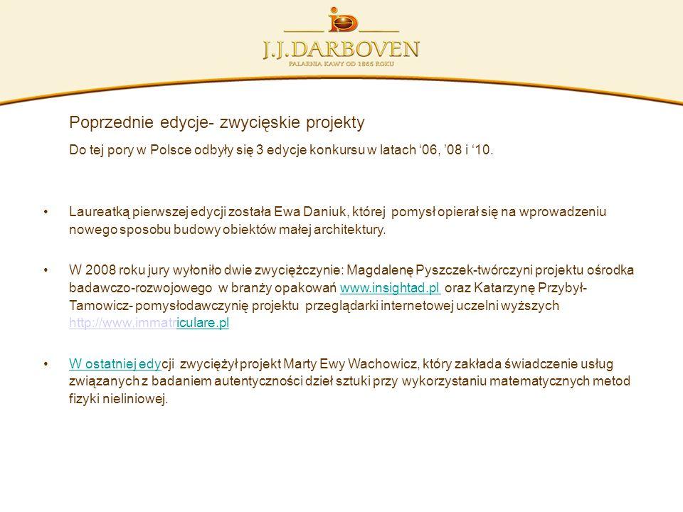 Poprzednie edycje- zwycięskie projekty Do tej pory w Polsce odbyły się 3 edycje konkursu w latach 06, 08 i 10. Laureatką pierwszej edycji została Ewa
