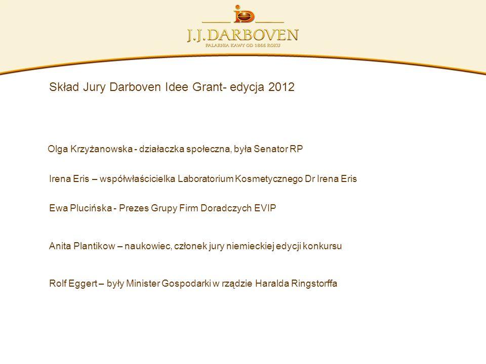 Skład Jury Darboven Idee Grant- edycja 2012 Olga Krzyżanowska - działaczka społeczna, była Senator RP Irena Eris – współwłaścicielka Laboratorium Kosm