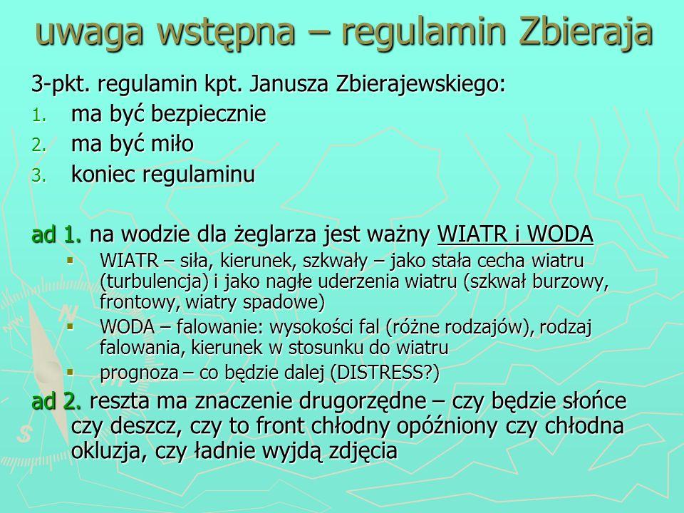 uwaga wstępna – regulamin Zbieraja 3-pkt. regulamin kpt. Janusza Zbierajewskiego: 1. ma być bezpiecznie 2. ma być miło 3. koniec regulaminu ad 1. na w