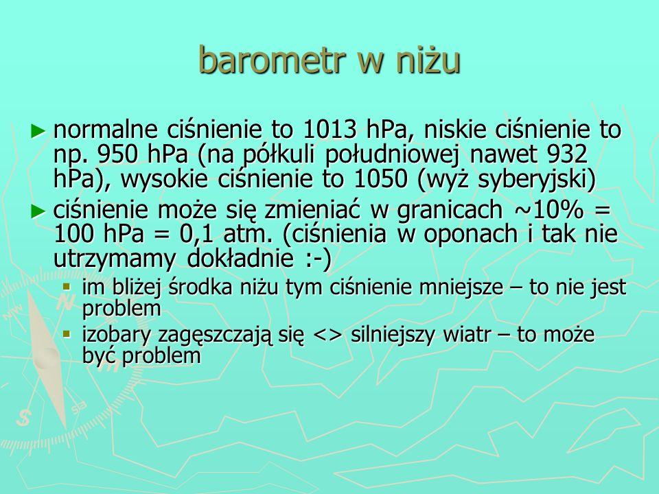 barometr w niżu normalne ciśnienie to 1013 hPa, niskie ciśnienie to np. 950 hPa (na półkuli południowej nawet 932 hPa), wysokie ciśnienie to 1050 (wyż