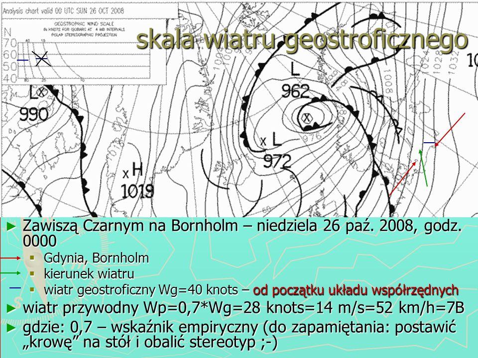 Zawiszą Czarnym na Bornholm – niedziela 26 paź. 2008, godz. 0000 Gdynia, Bornholm kierunek wiatru od początku układu współrzędnych wiatr geostroficzny