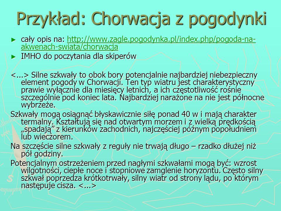 Przykład: Chorwacja z pogodynki cały opis na: http://www.zagle.pogodynka.pl/index.php/pogoda-na- akwenach-swiata/chorwacja cały opis na: http://www.za