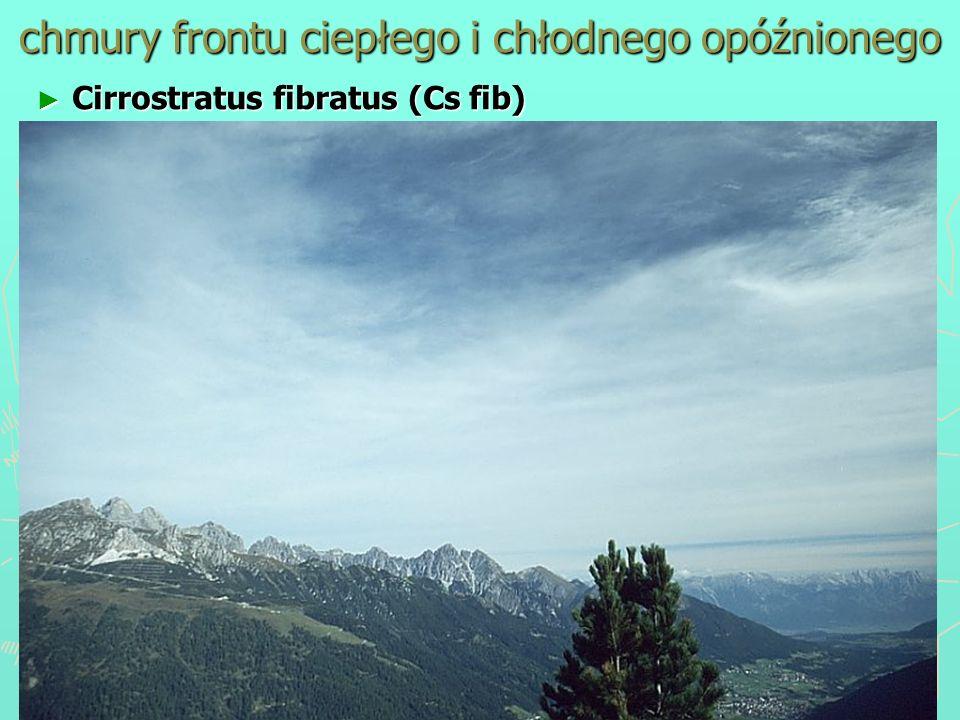 chmury frontu ciepłego i chłodnego opóźnionego Cirrostratus fibratus (Cs fib) Cirrostratus fibratus (Cs fib)