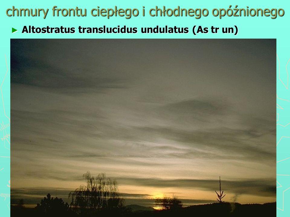 chmury frontu ciepłego i chłodnego opóźnionego Altostratus translucidus undulatus (As tr un) Altostratus translucidus undulatus (As tr un)