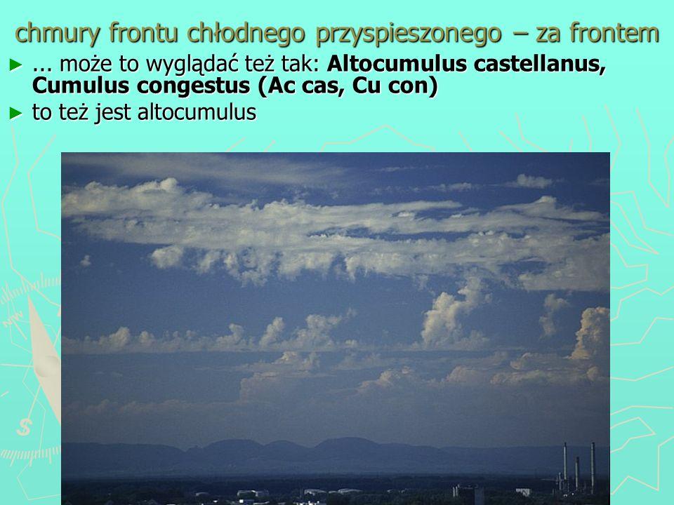 chmury frontu chłodnego przyspieszonego – za frontem... może to wyglądać też tak: Altocumulus castellanus, Cumulus congestus (Ac cas, Cu con)... może