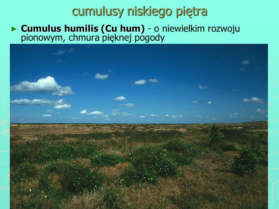 cumulusy niskiego piętra Cumulus humilis (Cu hum) - Cumulus humilis (Cu hum) - o niewielkim rozwoju pionowym, chmura pięknej pogody