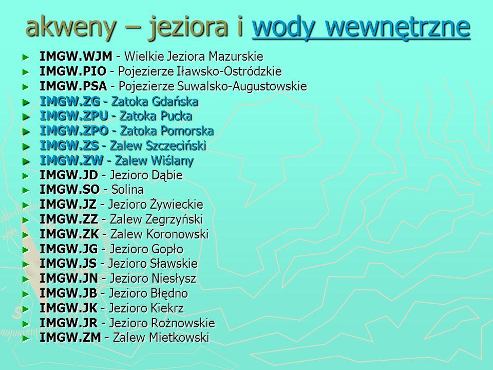 akweny – jeziora i wody wewnętrzne IMGW.WJM - Wielkie Jeziora Mazurskie IMGW.WJM - Wielkie Jeziora Mazurskie IMGW.PIO - Pojezierze Iławsko-Ostródzkie