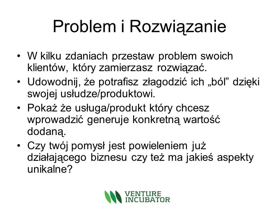 Problem i Rozwiązanie W kilku zdaniach przestaw problem swoich klientów, który zamierzasz rozwiązać.