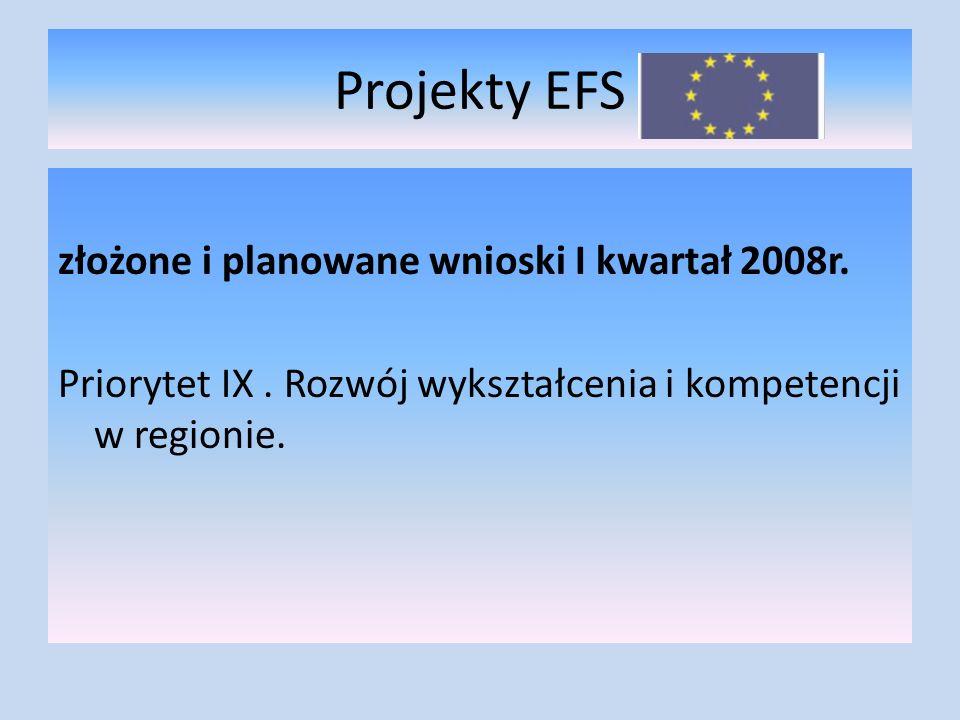 Projekty EFS złożone i planowane wnioski I kwartał 2008r.