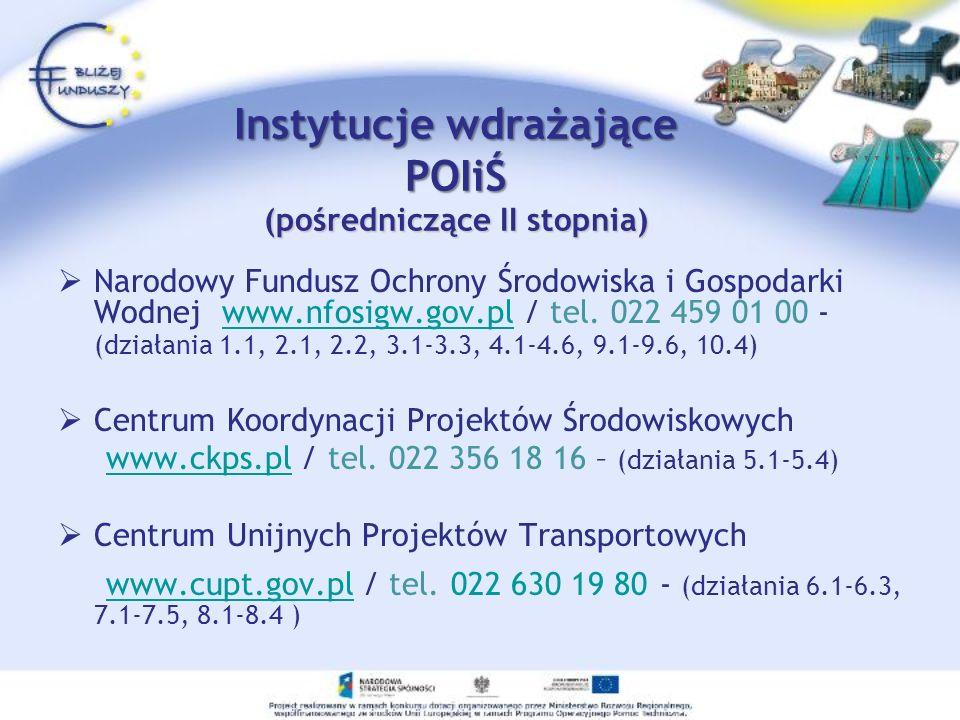 Instytucje wdrażające POIiŚ (pośredniczące II stopnia) Instytut Paliw i Energii Odnawialnej www.ipieo.pl / tel.
