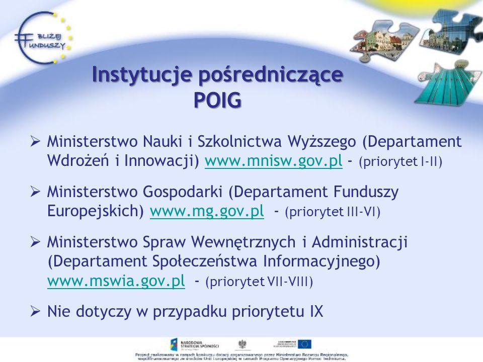 Instytucje wdrażające POIG (pośredniczące II stopnia) Ośrodek Przetwarzania Informacji www.opi.org.pl / tel.