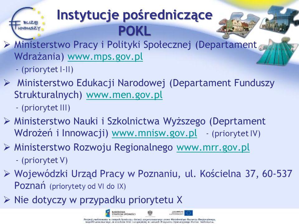 Instytucje wdrażające POKL (pośredniczące II stopnia) Centrum Rozwoju Zasobów Ludzkich www.crzl.gov.pl / tel.