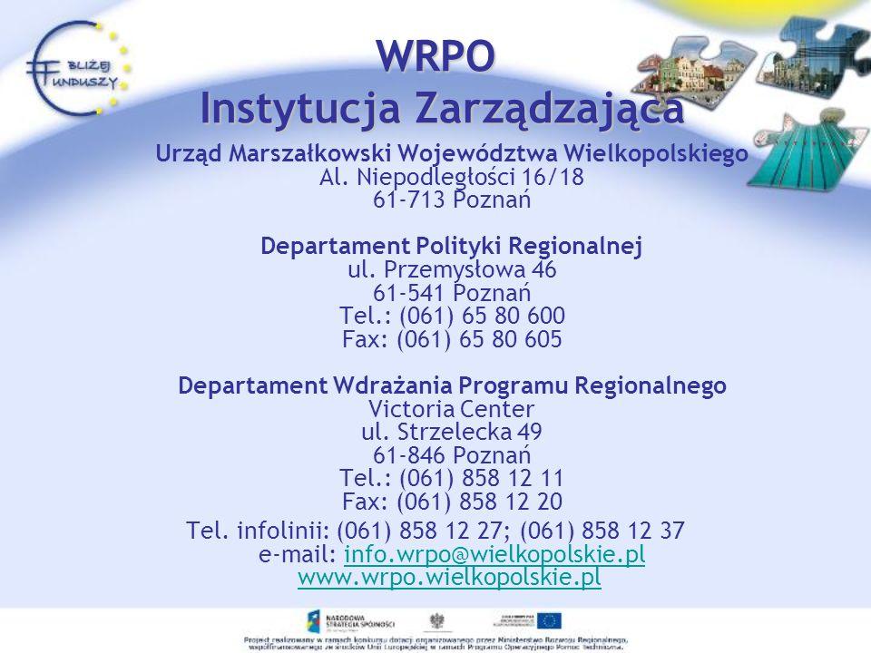 WRPO Instytucja Pośrednicząca Wojewódzki Fundusz Ochrony Środowiska i Gospodarki Wodnej w Poznaniu (Priorytet III) ul.